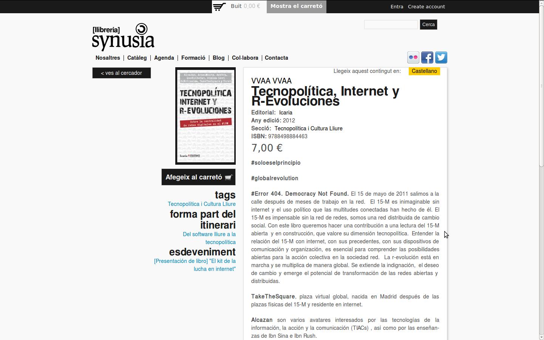 captura de la web synusia.cc en la venta del llibre Tecnopolítica, Internet y R-Evoluciones
