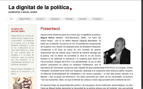 Web La Dignitat de la Política - Homenatge a Miguel Núñez