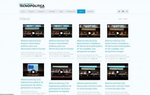 """Web del grup de recerca del In3 """"Redes, Movimientos y Tecnopolítica"""" (videos)"""