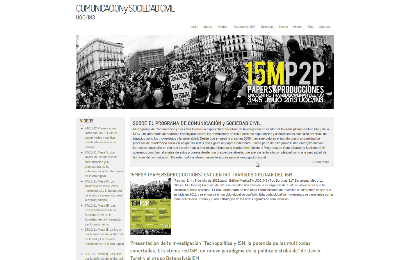 1era versió del web-Blog del Programa de Comunicación y Sociedad Civil del Internet Interdisciplnary Institute (IN3)